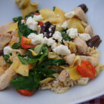 Skillet Greek Chicken with Artichokes, Spinach, Tomatoes, Feta and Kalamata Olives