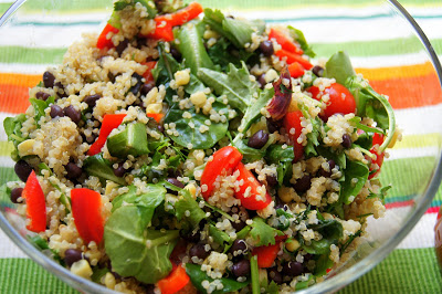 Quinoa Salad with Mixed Greens, Tomatoes, Black Beans, Corn, and ...