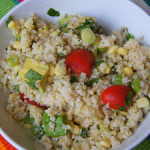 Summer Couscous Salad with Garbanzo beans, Corn, Tomatoes and Avocado